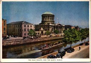 Four Courts Quays Dublin Ireland Liffey river boat black cabs fab cars Irish Fla