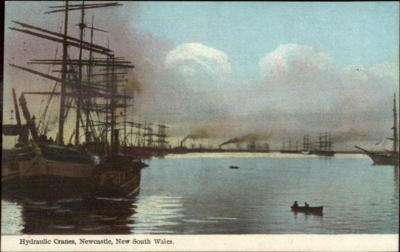 NSW New South Wales Newcastle Ships Harbor c1910 Postcard
