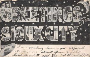 Sioux City Iowa Large Letter Greeting Antique Postcard K7876661