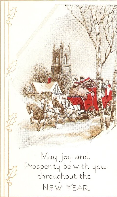 Winter scene. Coach and horses Old vintage American N.Year Greetings PC