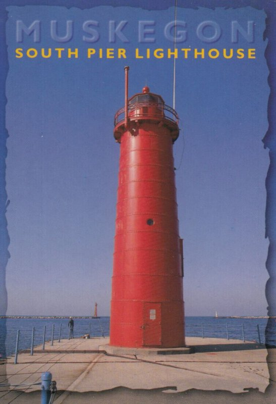 South Pier LIGHTHOUSE , Muskegon , Michigan . 1970-80s