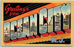 Vintage OCEAN CITY New Jersey Large Letter Postcard Curteich Linen c1940s Unused