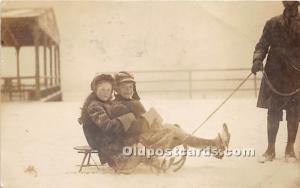 Kids on Sled Sleigh Riding 1907