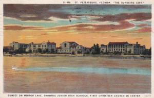 Florida St Petersburg Sunset On Mirror Lake 1930 Curteich