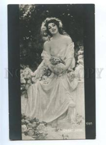 176601 NUDE Belle NYMPH as Flower ROSES by SALA Vintage PC