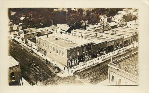 c1907 RPPC Birdseye view from Water Tower, Augusta WI Eau Claire County unposted