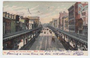 P2098, 1907 postcard bowery & elvated  road new york diamonds sign etc