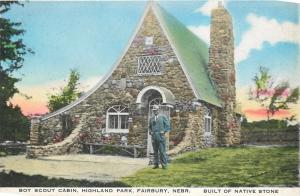 Fairbury NE~Boy Scout Cabin~Highland Park~Man in Suit~Spear-Buswell~Handcolor