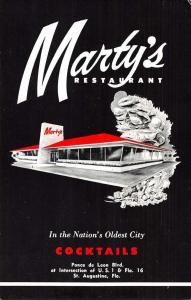 St Augustine Florida Martys Cocktail Restaurant Antique Postcard K30101