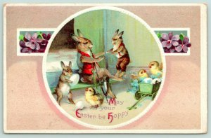 Clapsaddle Easter Fantasy~Dressed Papa Rabbit Bounces Bunny~Baby Chicks~Embossed