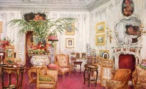 UK - Warwick, Warwick Castle- Boudoir   ***Artist Signed: W. W. Quatremain