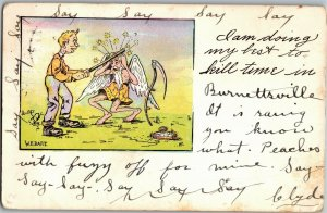 Doing My Best to Kill Time Man Beats Father Time c1906 Vintage Postcard A32
