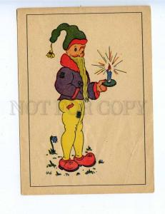 201858 GERMANY Gnome with a candle by INI vintage postcard
