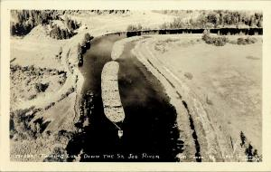 1950 Saint Joe River Idaho RPPC: Towing of Log Rafts