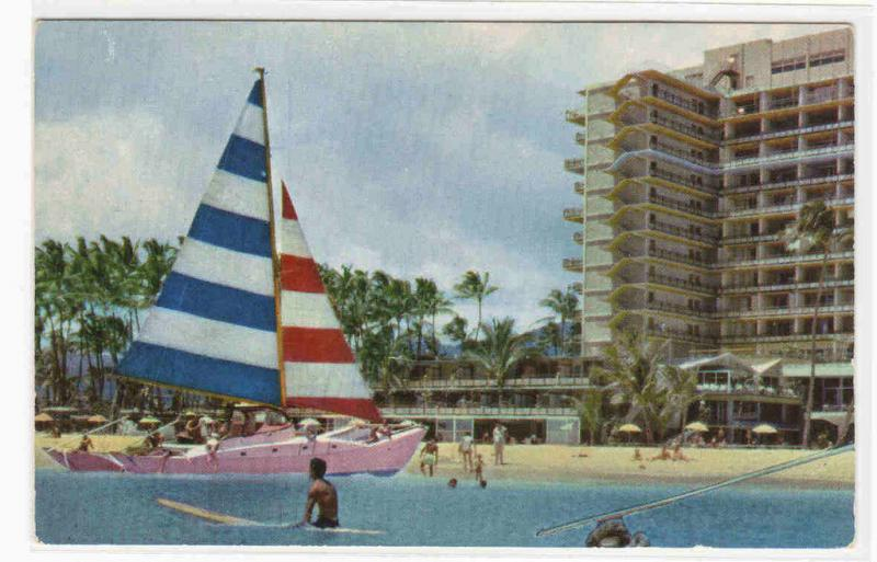 Catamaran Yacht Hawaiian Village Hotel Hawaii postcard
