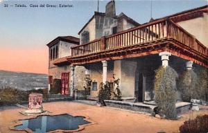 Spain Old Vintage Antique Post Card Casa del Greco, Exterior Toledo Writing o...