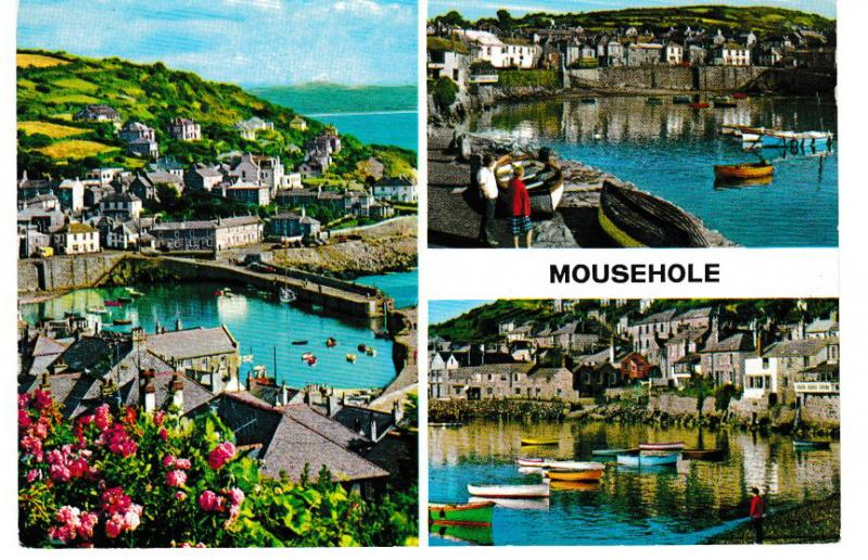 postcard Cornwall MOUSEHOLE 3 views unposted 1967