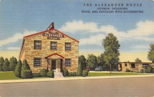 Alexander House Hotel Cottages Guymon Oklahoma linen postcard
