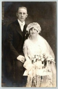 Real Photo Postcard~Wedding Photo~Fred & Helen Kocher~Flapper Style Gown~1929