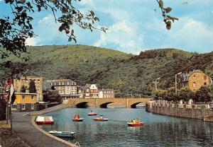 Belgium La Roche en Ardenne Cannotage sur l'Ourthe River Boats Bridge