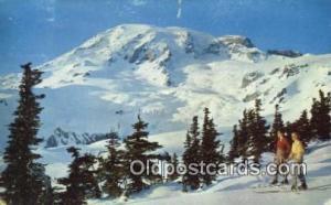 Mount Rainier In Winter, Washington, WA USA Skiing Postcard Post Card Old Vin...