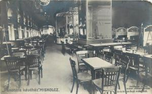 Panonnia kavehaz MISKOLCZ Hungary coffee house interior Abraham Istvan RPPC