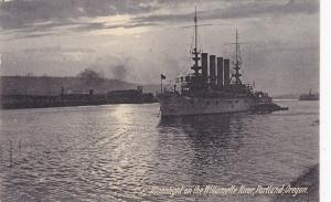 Warship , Moonlight on the Willamette River , PORTLAND , Oregon , PU-1908