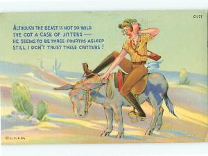 Humor Cartoon Mule Tourist Cowboy on Donkey C-171 Desert Cactu  Postcard # 6770