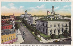 DENVER, Colorado, 1930-1940s; U.S. Mint And Colfax Ave., County Building, Lib...