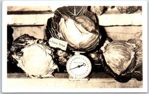 Vintage Alaska RPPC Real Photo Postcard Alaskan Produce 17-Pound Cabbage 1940s