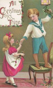 CHRISTMAS; 1900-10s; Children decorating, All Christmas Joys be Thine