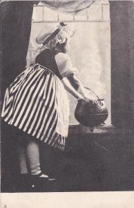 TUCK #1268; Art, Little girl wearing bonnet, cauldron, window sill, 1900-10s