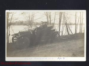 RPPC OSCEOLA WISCONSIN ANTIQUE AUTO CAR AUTOMOBILE REAL PHOTO POSTCARD