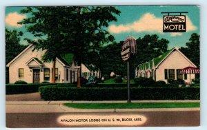 BILOXI, MS Mississippi ~ AVALON MOTOR LODGE c1940s Car Roadside Linen  Postcard