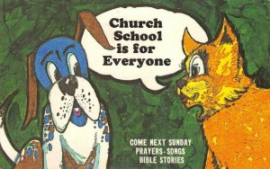 Church School is for Everyone Sunday School Comic Dog c1950s Vintage Postcard
