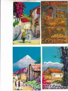 P1908, 5 dif vintage mexico unused art postcards, colorful, 4 scans