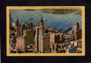 NY Lower Manhattan Ellis Island New York City NYC Postcard Skyscrapers