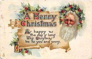 F23/ Santa Claus Merry Christmas Postcard c1912 Holly Beard 2