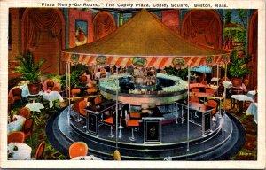 Merry-Go-Round Bar Copley Plaza Hotel Boston MA art deco cocktails vtg postcard
