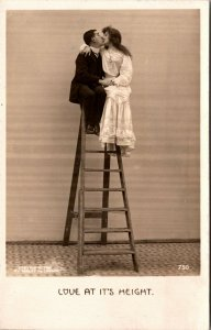RPPC Love at it's height couple kiss on step ladder pub Bamforth - postcard