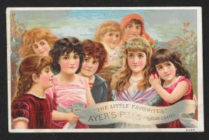 VICTORIAN TRADE CARD Ayer's Pills 8 Young Girls