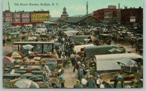 Buffalo NY~Elk St Market~JE Schintzius Produce~Becker~Coca-Cola Billboard 1910