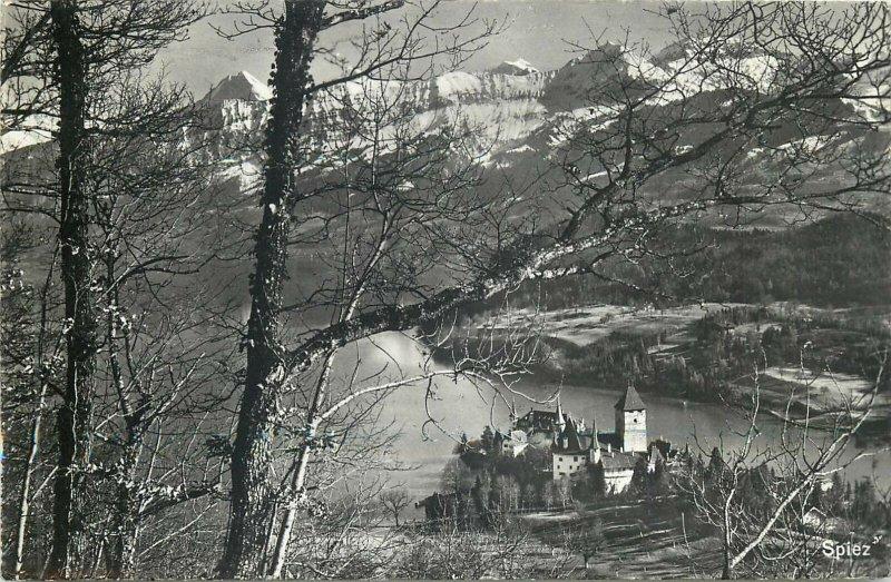 Switzerland Spiez castle lake Thun view Postcard