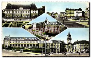 Postcard Modern Rennes Plais Trade Courthouse Square Station