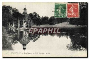 Old postcard Chantilly castle on the island of love