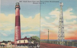 New Jersey Atlantic City Absecon Lighthouse & New Steel Tower Curteich sk1777