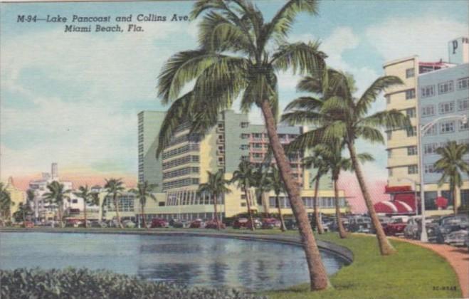 Florida Miami Beach Lake Pancoast and Collins Avenue Curteich