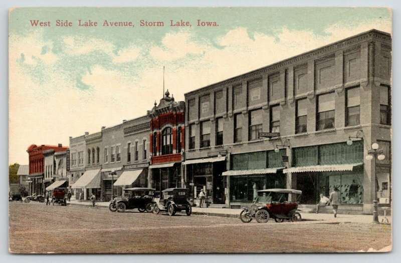 Storm Lake IA~Dentist Office in Dry Goods Store~Princess Hotel~Early Autos~c1912