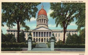 Augusta, Maine, ME, State House, 1948 Linen Vintage Postcard e9273