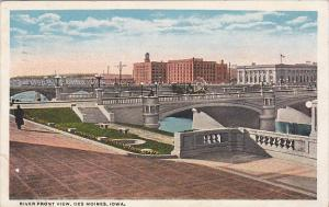 River Front View Des Moines Iowa 1923 Curteich
